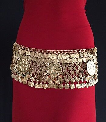 GOLDEN TONED BELLY DANCE BELT TRIBAL COSTUME BELLY DANCING COINS GYPSY LOOK