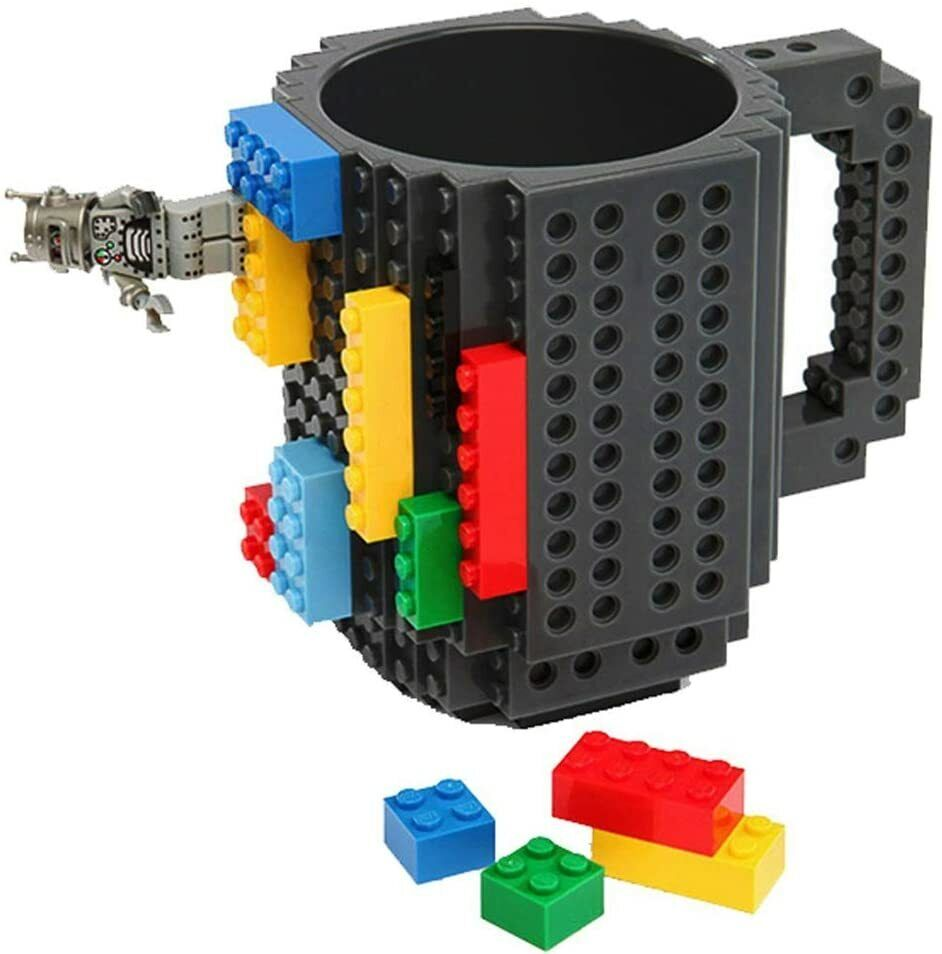 Build-On Brick Mug - BPA-free 12oz Coffee Mug- Black