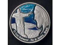1 Oz SILVER PLATED COLOURED COMMEMORATIVE COIN * CHRIST'S STATUE IN RIO DE JANEIRO