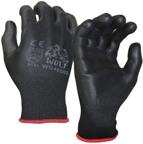 WOLF Ultra-Thin Black Work Gloves Polyurethane Palm Coated Nylon Shell 12 Pairs