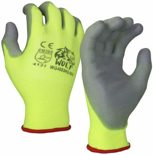 WOLF Work Gloves High-Viz Green Ultra-Thin PU Palm Coated Multi-Purpose 12 Pairs