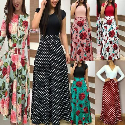 Women Floral Maxi Dress Hawiian Evening Party Summer Beach Casual Long Sundress