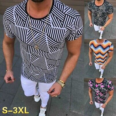 2019 New Slim Fit T Shirt Casual Fit Print Graphic Summer Fashion Fitness - Slim Graphics