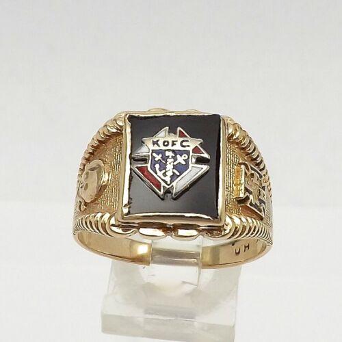 Vintage 10k Gold Knights of Columbus 3rd Degree Skull & Bones Mens Ring Sz 12