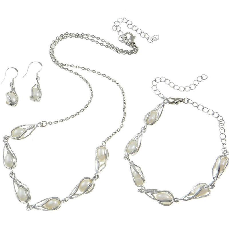 Wholesale Lot 3 Sets Silver Tone Freshwater Pearl Necklace Bracelets & Earrings