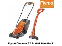 New Flymo Chevron 32 + Mini Trim Pack Wheeled Lawn Mower with Grass Trimmer TWIN PACK Outdoor lawn
