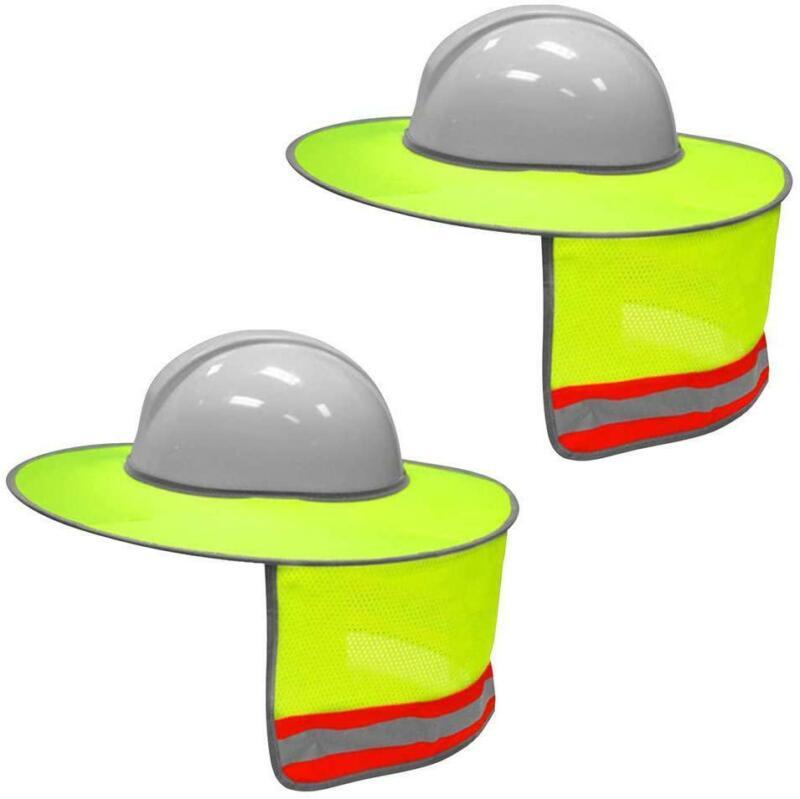 XIAKE 2 Pack Hard Hat Sun Shield Full Brim Mesh Neck Sunshad