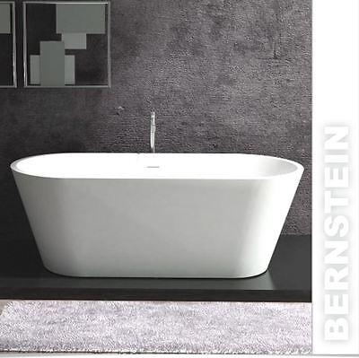 Freistehende Badewanne aus Mineralguss ALMERIA STONE weiß 170x80cm  Solid Stone (Stone Freistehende Badewanne)
