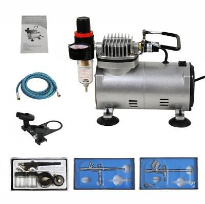 Best Quality 3 Airbrush Kit 1/5 HP Air Compressor Dual-Action Pro Painting Art