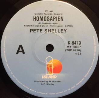 "HOMOSAPIEN - 7"" single record by PETE SHELLEY (BUZZCOCKS)"