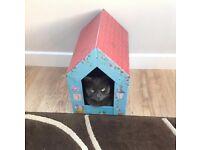 Brand New (still in cellophane) Cardboard Cat or Kitten House/Den/Lounger with scratcher