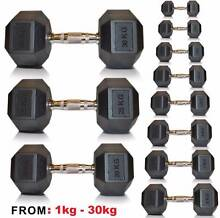 BRAND NEW 1KG - 30KG HEX DUMBBELLS PACKAGE DEAL IN BOX DUMBELLS Wangara Wanneroo Area Preview