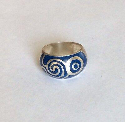 Sterling Silver Blue Enamel Pattern Ring Sz7 Blue Silver Patterned Enamel Ring