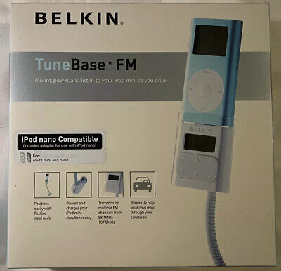 Belkin TuneBase FM Transmitter IPOD Mini Or Nano F8V7097-N Car Charger Dock New Belkin Ipod Tunebase