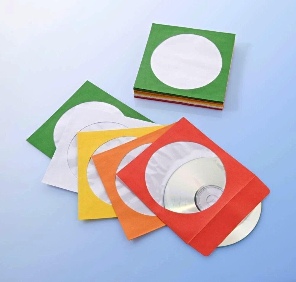 100 Stück CD Papierhüllen DVD Hüllen Bunt mit Lasche Papierumschlag mit Fenster