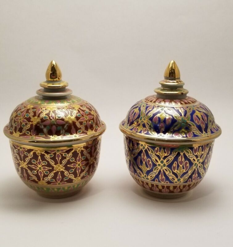 Authentic Thai Hand Painted Benjarong Porcelain Jar Bowl With Lid - Set of TWO