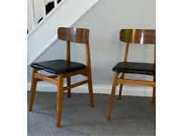 2 x mid century wooden dining chairs