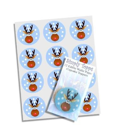 12 Rudolph Christmas Edible Cupcake Toppers Decorations Cake Xmas Cut ()