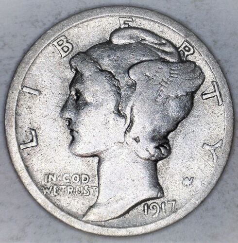 1917 S Mercury Dime circulated 90% Silver  Very Good VG to F Fine condition