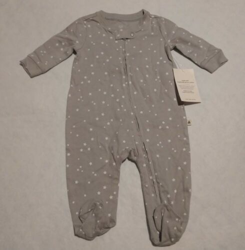 NWT Baby Gap Organic Cotton Gray Star Print Footed One Piece Sleeper 0-3 Months