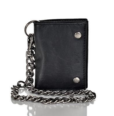 Levi's Men's Leather Trifold Chain Wallet Black