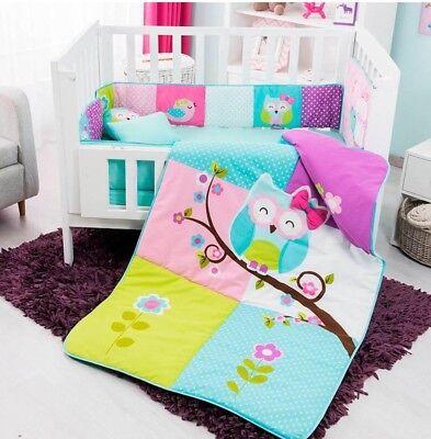 OWL DOROTY BABY GIRLS CRIB BEDDING SET NURSERY 6 PCS 100% - Owl Crib Set
