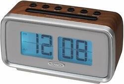 Jensen Retro Flip LCD Display Dual Alarm Clock AM/FM Radio Dimmer Control EUC