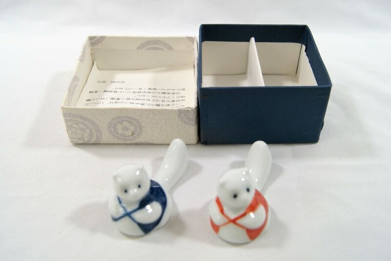 Lot of 2 Japanese Ceramic Tanuki Racoon Dog Chopstick Holder Rest Collectibles