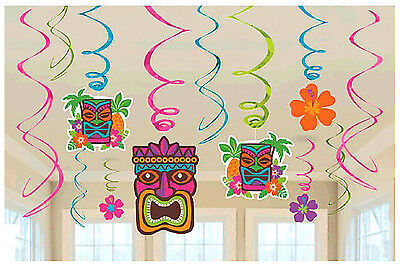 Tropical Tiki Swirl Decoration Summer Beach Luau Hawaiian Party Supplies Dangler ()