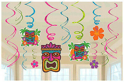 Tropical Tiki Swirl Decoration Summer Beach Luau Hawaiian Party Supplies Dangler - Luau Supplies