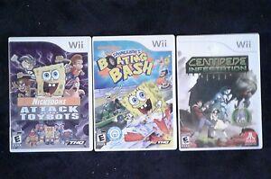 3 Nintendo wii games  2 sponge bob  1 centipede infestation