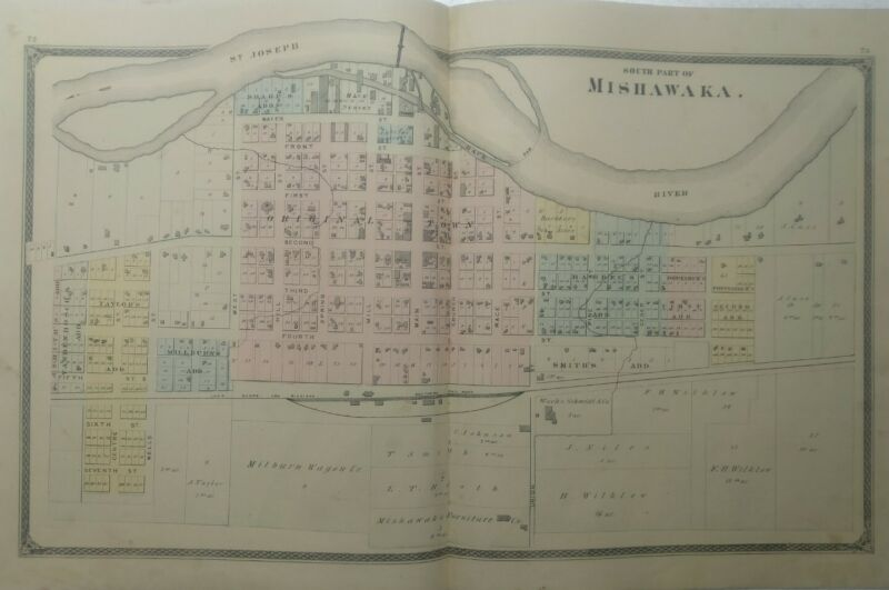 Mishawaka Indiana 1875 large vintage map  lots of detail