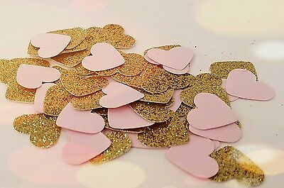 Pink and Gold Heart Confetti-300 pieces-  Great for Parties, Valentines Day