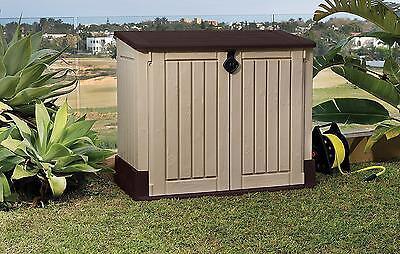 Outdoor Garden Storage Shed Plastic Steel Horizontal Backyard Deck Patio