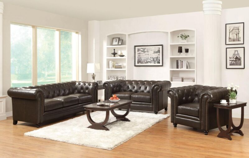 2 Pc Tufted Brown Bonded Leather Match Sofa Love Seat Living Room Furniture Set