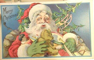 LOT OF 8 CHRISTMAS POSTCARDS INCL SANTA CLAUS ELF CHILDREN NATIVITY EMBOSSED ()