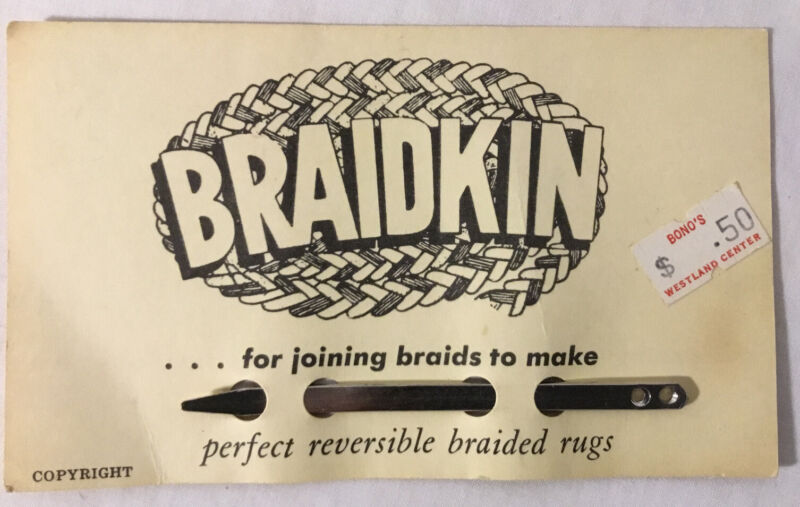 Braidkin lacing needle: rug braider lacer, braided rugs tool long w/curved end