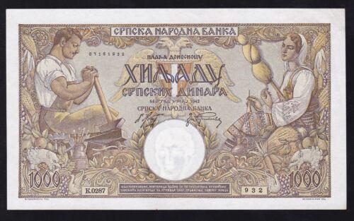 SERBIA --- WW2 ---- 1000  DINARA  1942 ----- XF+ -----