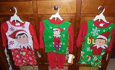 Girl And Boy Elf On The Shelf (NWT boy and girl Elf on the Shelf Christmas pajama set U choose 2t 3t 4t warm)