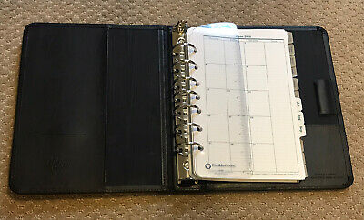 Franklin Quest Bonded Leather Black 7 Ring Classic Plannerorganizer Winserts