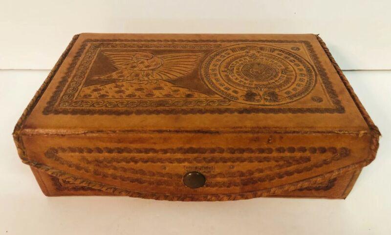 Mexico Tooled Leather Box Jewelry Trinket Storage Document w/ Tray Vintage