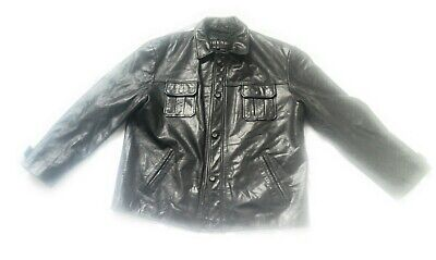 Mens BLACK Guess Leather Jacket Size XL