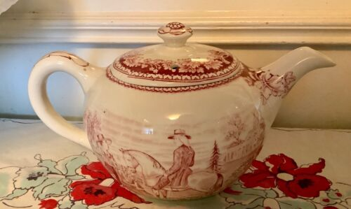 CURRIER & IVES PINK TEAPOT Washington Family at Mount Vernon homer Laughlin Vtg