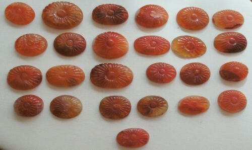 25 Vintage Chinese Hand Carved Natural Carnelian Oval Brooch Stones Flowers NOS