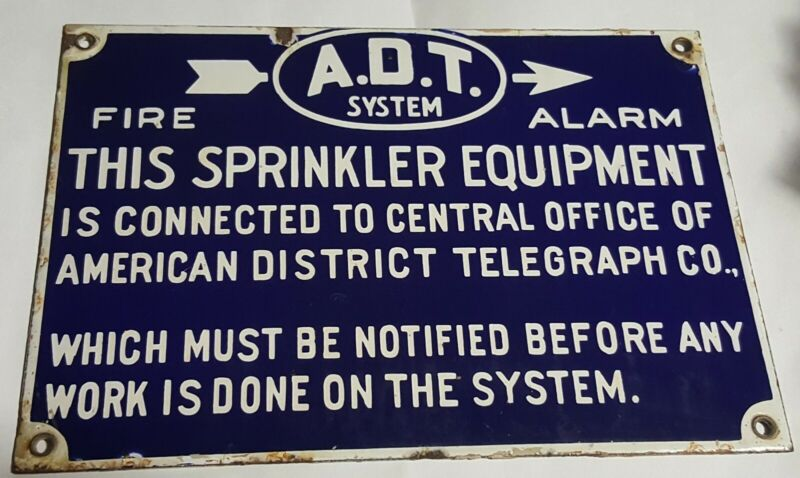 Vtg American District Telegraph Co ADT System Fire Alarm PORCELAIN Sign A D T