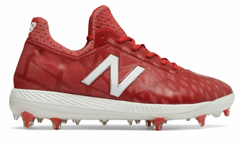 New Balance Low-Cut COMPv1 TPU Baseball Cleat Mens Shoes Red with White