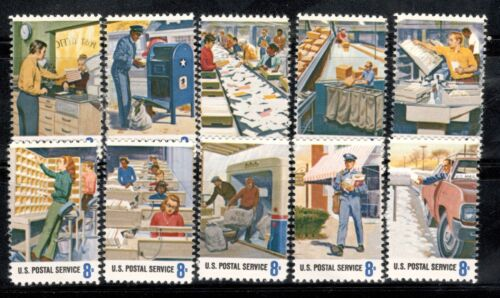 1489-1498 Postal Service Employees Set Of 10 Mint/nh FREE SHIPPING