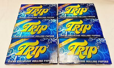 6 Packs 1 1/4 Trip 2 Clear Cellulose Transparent Cigarette Rolling Papers