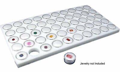 Glass Top Jewelry Display Case Box White 50 Gem Jars Insert