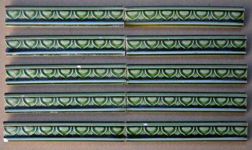 HELMAN - 10 ANTIQUE ART NOUVEAU MAJOLICA BORDER TILES C1900
